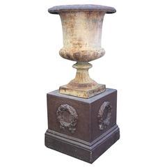 19th Century French Cast Iron Urn on Stoneware Base