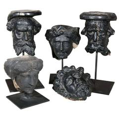 Collection of Carved Yorkstone Saints Heads