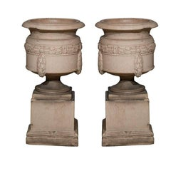 Rare Pair of Fireclay Urns on Plinths, Signed LEFCO