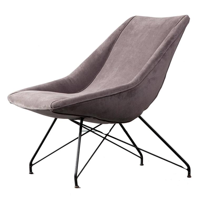 Lounge Chair with Upholstered Seat and Iron Frame by Carlo Hauner, Brazil, 1960
