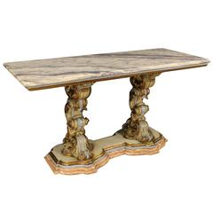 20th Century Console Table Made by Lacquered Wood with Marble Top