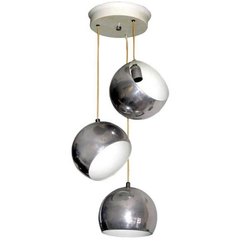 Italian Mid-century Modern Adjustable 3 Ball Suspension Pendant by Stilnovo