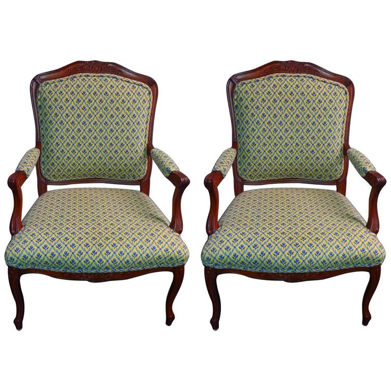 Pair of French Style Cherry Armchairs For Sale