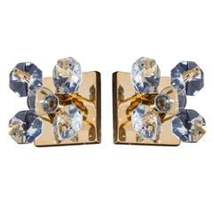 Pair of Exquisite Crystal Flower Sconces by Christoph Palme