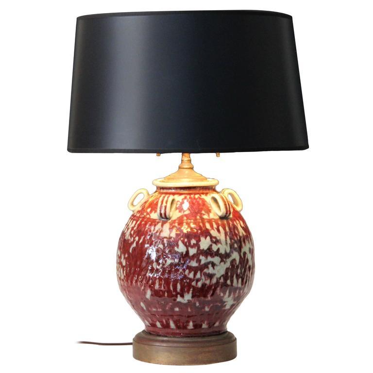 Vintage Japanese Studio Pottery Oxblood Flambe Lamp At 1stdibs