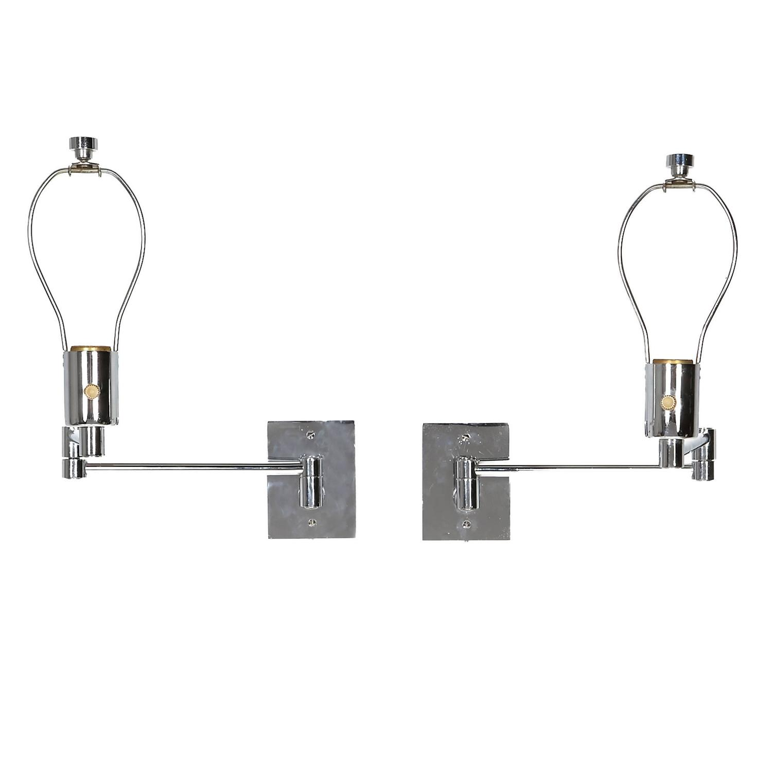 pair of georg w hansen chrome swing arm wall mounted lamps for sale at 1stdibs. Black Bedroom Furniture Sets. Home Design Ideas