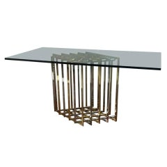 Pierre Cardin Sculptural Grid Brass and Chrome Table