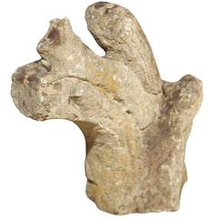 19th Century English Carved Stone Squirrel on Branch
