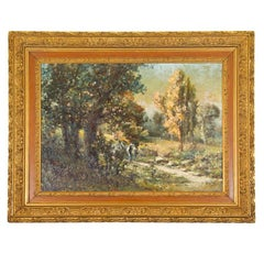 Magnificent Landscape by Listed French Painter, Gabriel Griffon, Original Frame
