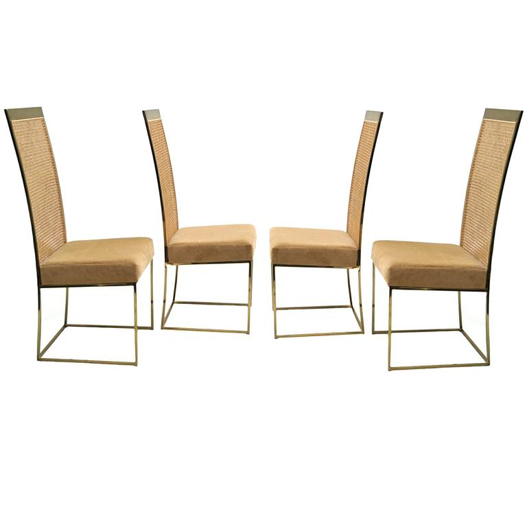 Four Milo Baughman For Thayer Coggin, Brass Tone Cane Back Dining Chairs