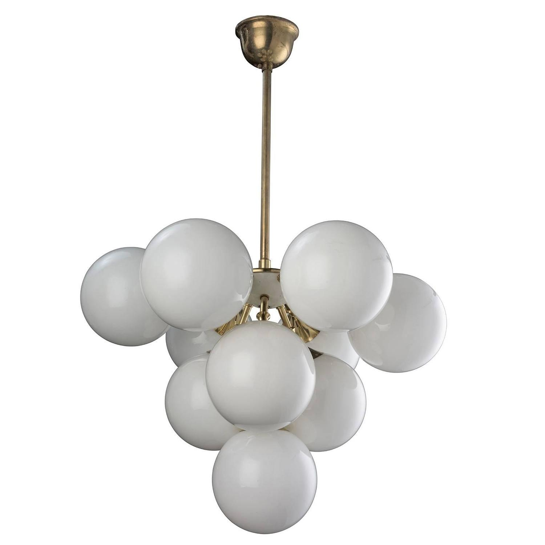 Brass opaline glass sputnik chandelier at 1stdibs for Sputnik chandelier