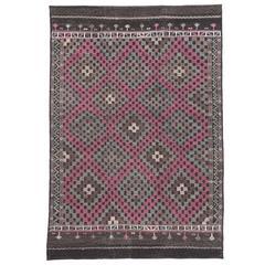 Vintage Turkish Kilim with Modern Style, Flatweave Kilim Rug