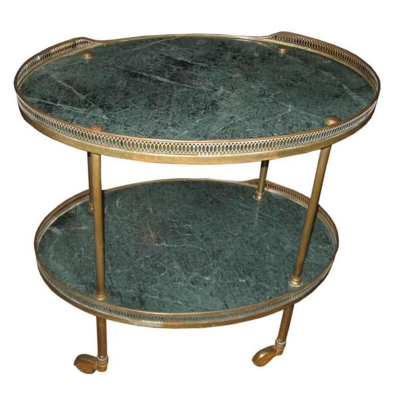 Midcentury Italian Marble and Brass Bar or Serving Cart