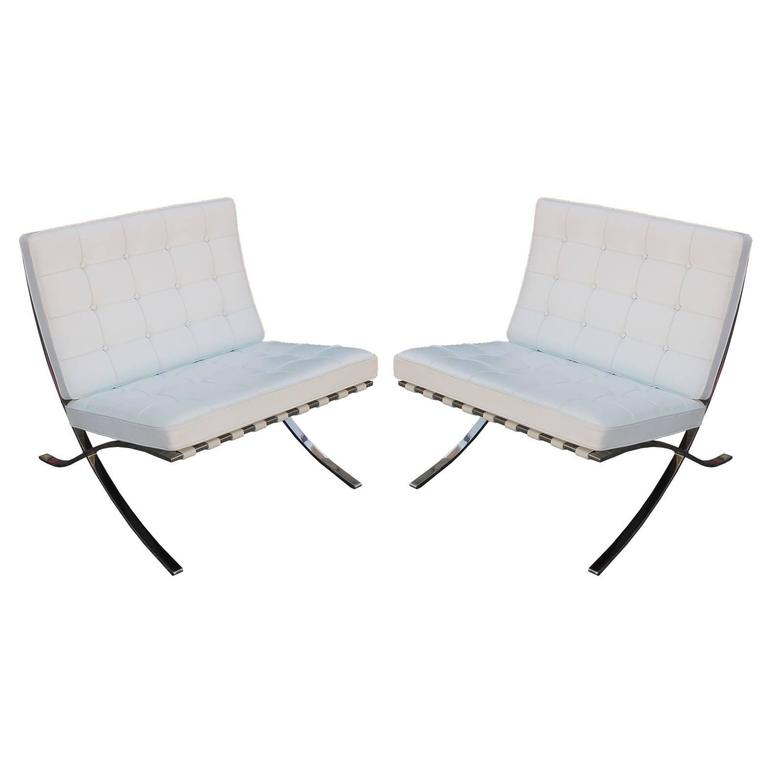 Iconic Pair Of Mies Van Der Rohe Barcelona Chairs In White Leather For Sale