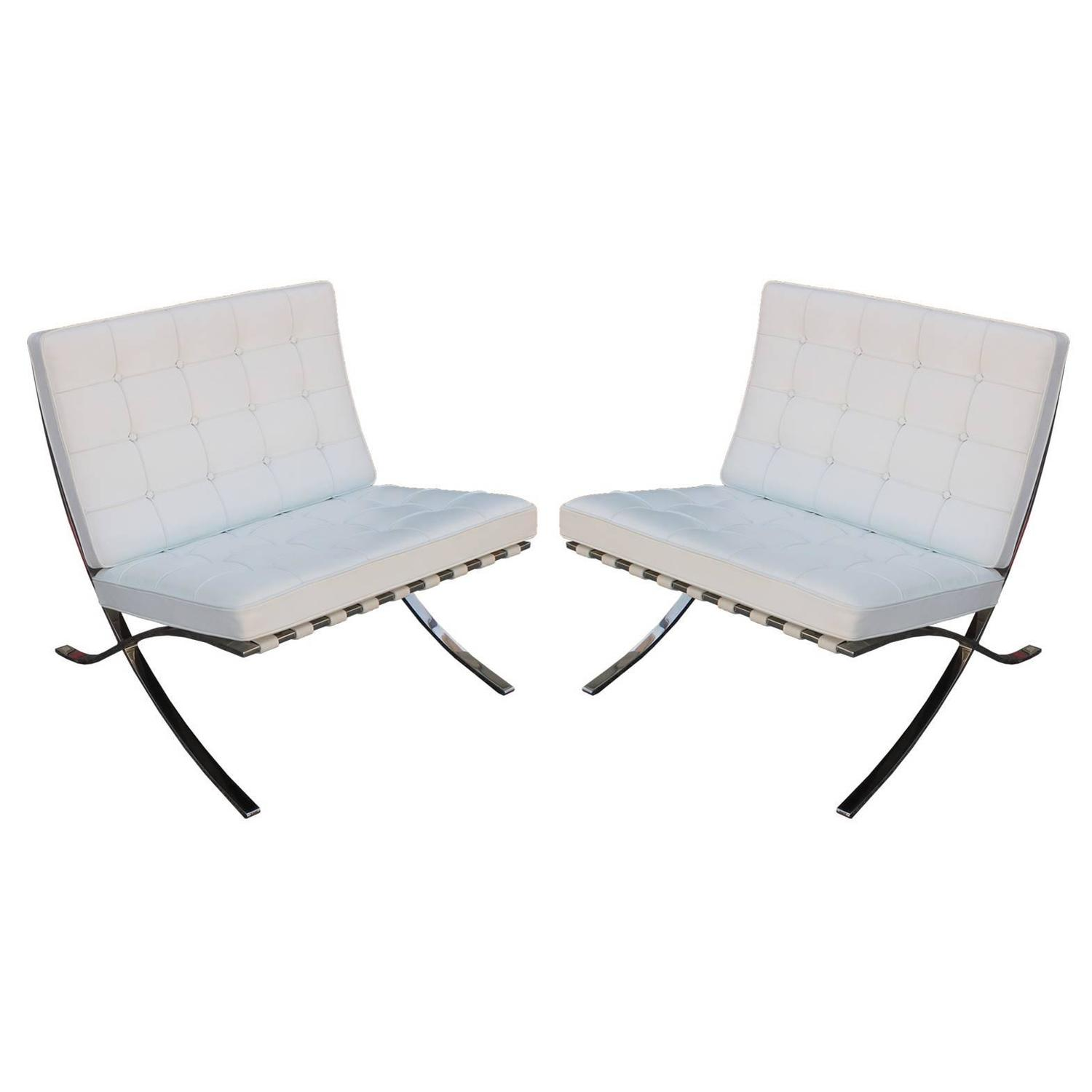Iconic Pair of Mies van der Rohe Barcelona Chairs in White Leather