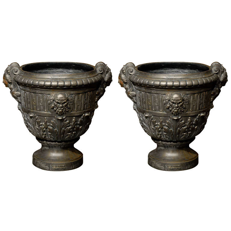 19th Century French Louis XV Style Cast Iron Urns