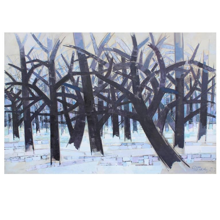 Gabor Peterdi Modernist Oil Painting, Winter II 1