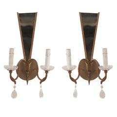 Pair of Modern French Sconces with Crystal Accents and Mirrored Back