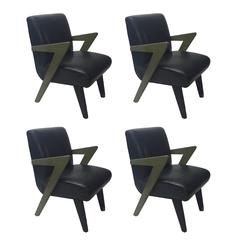 Set of Four Dining Chairs in the Style of Paul Laszlo, Made Custom in 1980, NYC