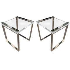 Charles Hollis Jones Side Tables in Lucite and Polished Nickel from the Box Line