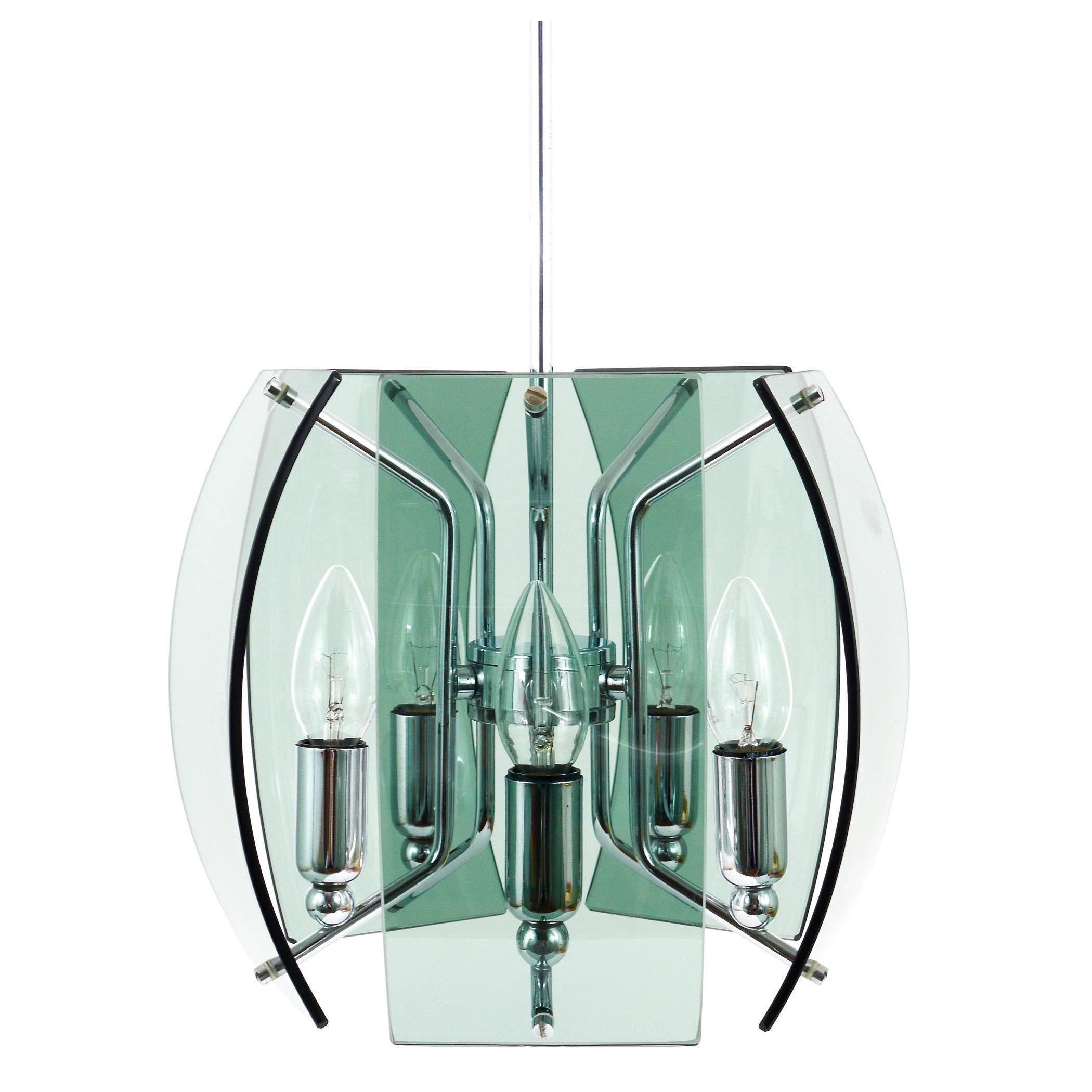Beautiful Mid-Century Glass Chandelier, Fontana Arte Style, Italy, 1960s