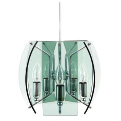 Beautiful Mid-Century Glass Chandelier, Fontana Arte Style, Italy, 1960s