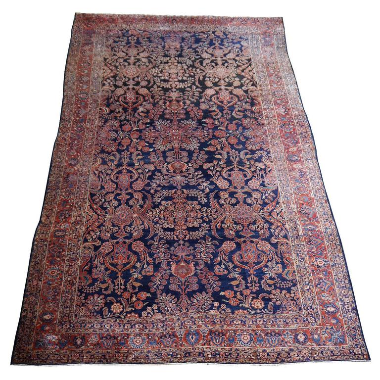 Antique Oversize Sarouk Persian Rug For Sale