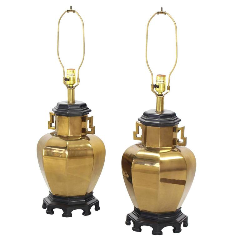 Pair of Brass Hexagon Shape Table Lamps For Sale