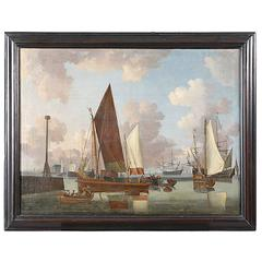 Large 18th Century Dutch Painting of a Busy Harbor with Sail Boats