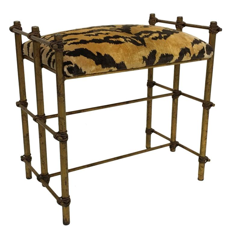 Italian Gilt Tole Bench With Scalamandre Le Tigre Cushion