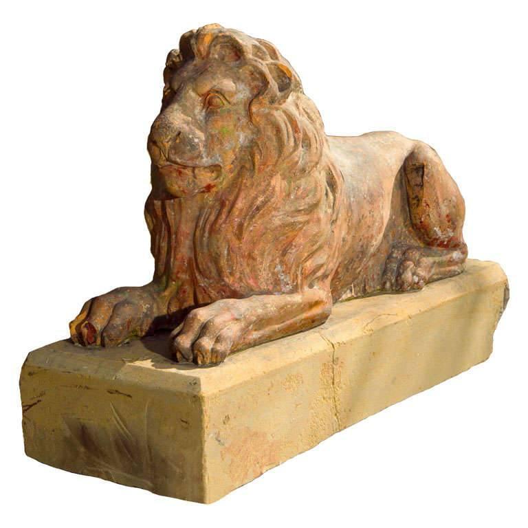 Regal Recumbent Fireclay Lion, English, 19th Century