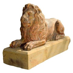 Regal Recumbent English 19th Century Fireclay Lion on Integral Yorkstone Base