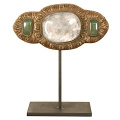 Belt Buckle with Rock Crystal and Green Quartz