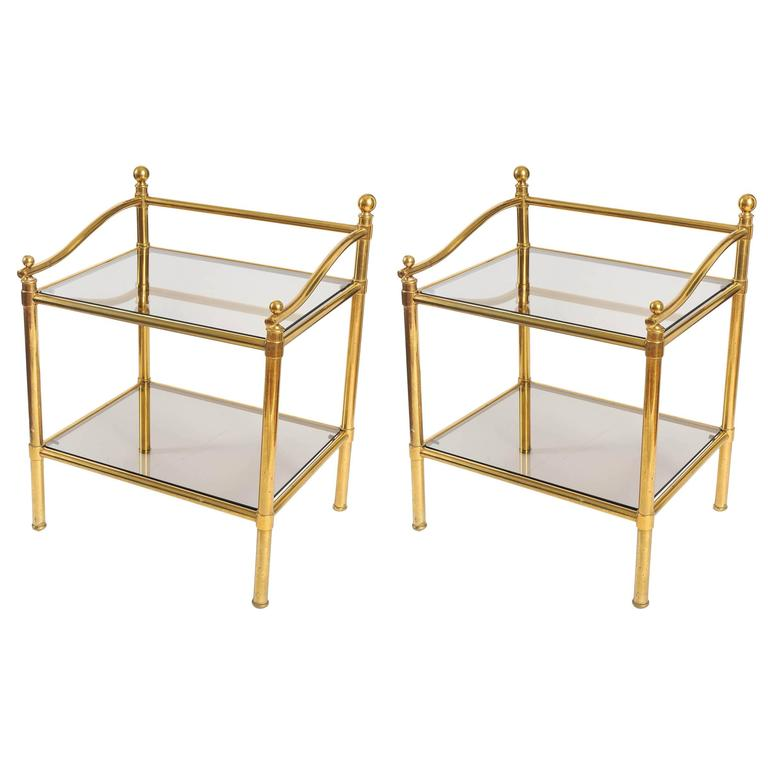 Pair of Italian 1950s Brass and Glass Side Tables