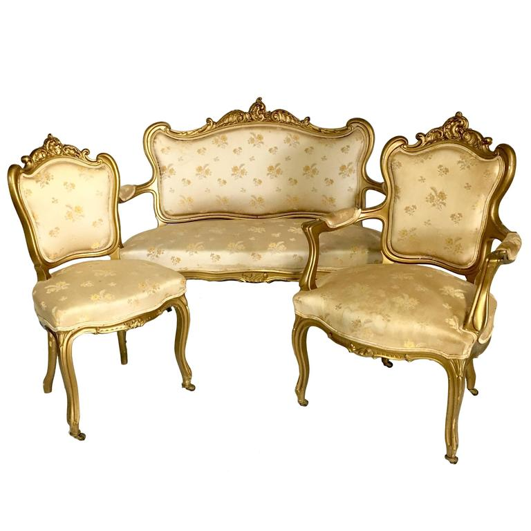 Antique French Louis Xv Style Carved Gold Gilt Three Piece