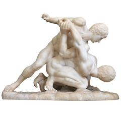 Grand Tour Alabaster Sculpture of the Male Nude Wrestlers, Florence, circa 1870