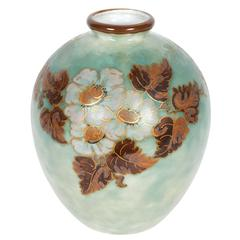Camille Tharaud for Limoges Porcelain Vase with Floral Motif