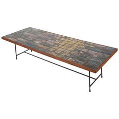 Bjorn Wiinblad Tile Mahogany and Iron Cocktail Table