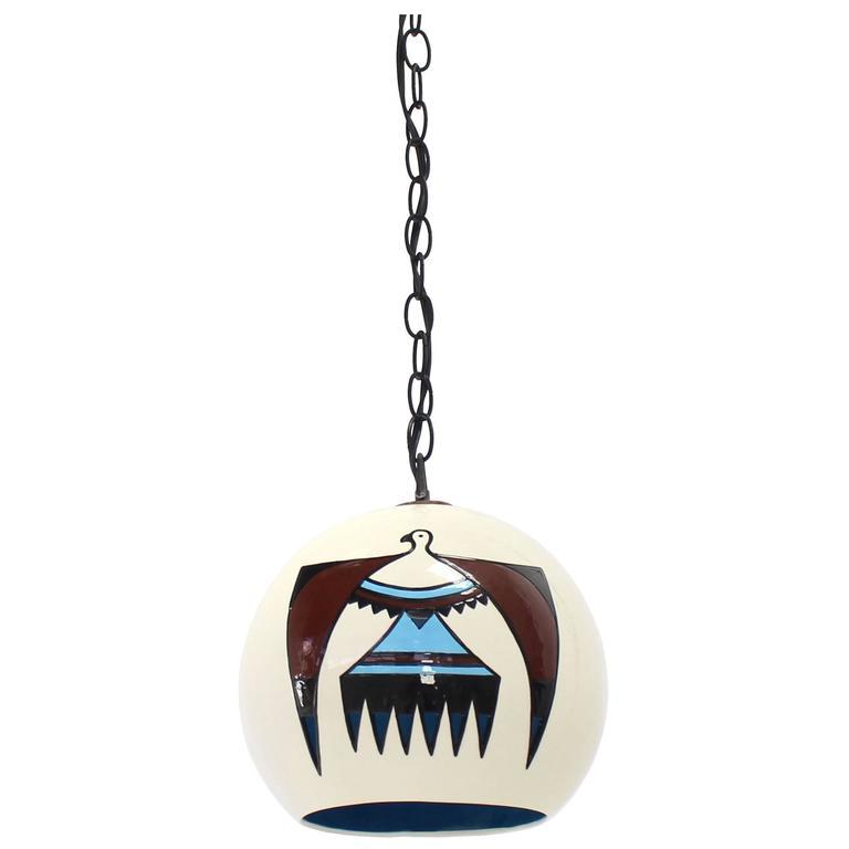 Ceramic Art Decorated Pendant Shade Light Fixture