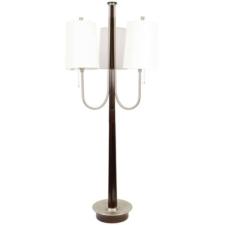 Three-Arm Walnut Lamp in the Style of Tommi Parzinger