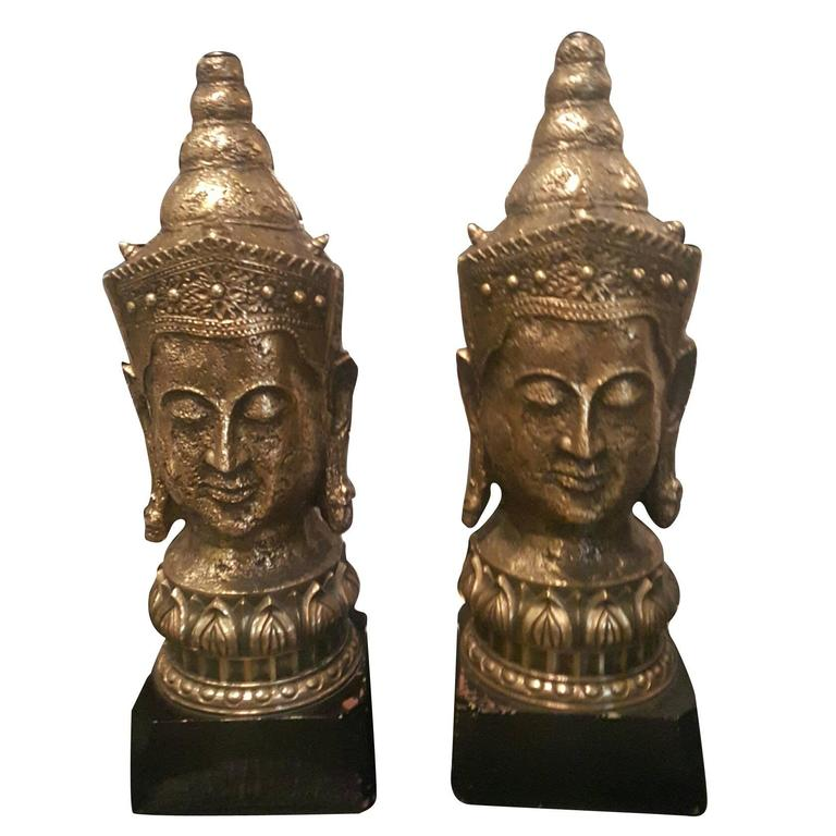 1940s Resin and Wood Buddha Lamps 1