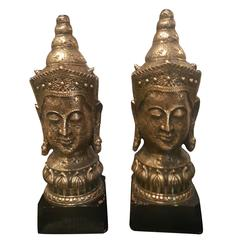 1940s Resin and Wood Buddha Lamps