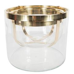 Caviar Server in Clear Glass and Polished Brass, Signed Gabriella Crespi
