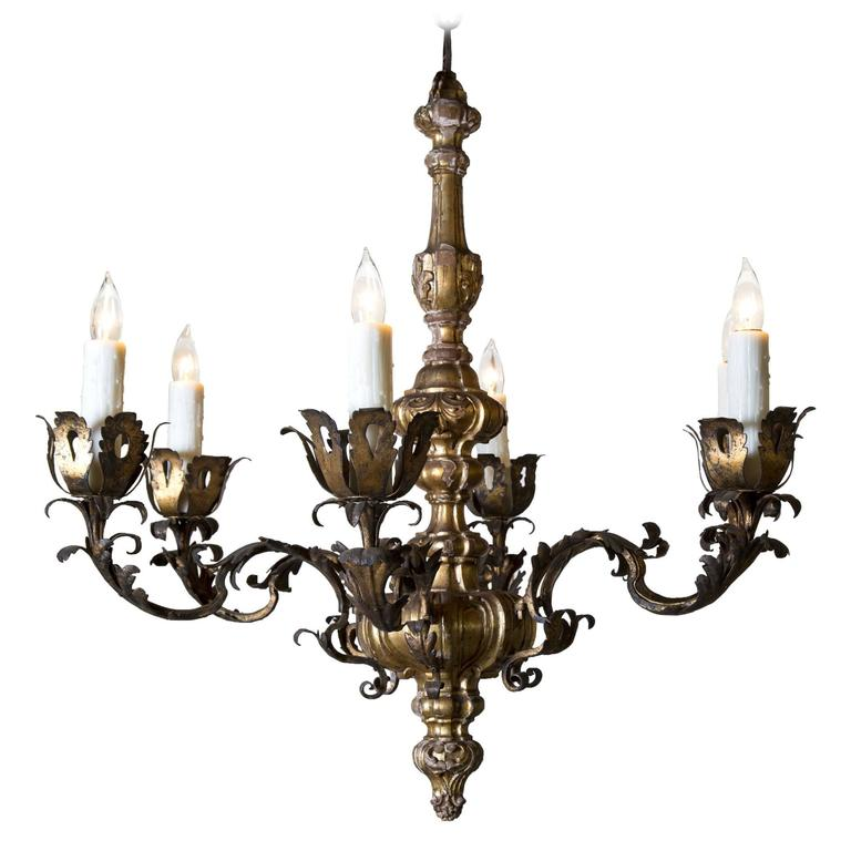 19th Century Carved Giltwood Six-Light Chandelier 1