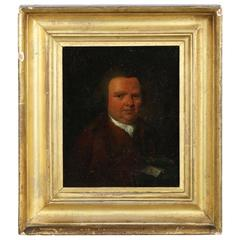 English Antique Oil Painting Portrait of Seated Gentleman, 18th Century