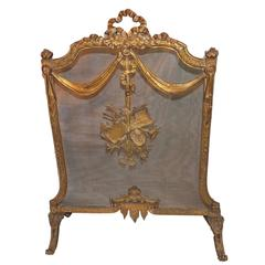 Wonderful French Bronze Bow Ribbons Floral Musical Fireplace Screen Fire Screen