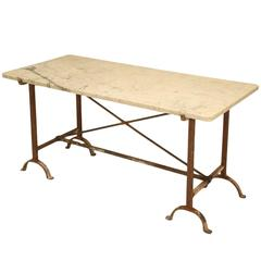 Antique French Iron and Marble Kitchen Table