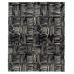 Contemporary Ecriture Black & Off-white Handmade Silk & Wool Rug