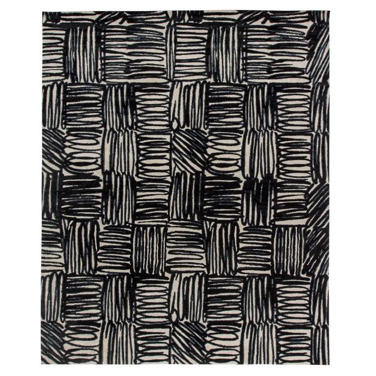 21st Century Ecriture Black & White Handmade Silk & Wool Rug For Sale