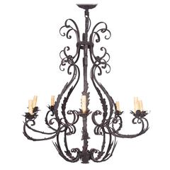Wrought Iron Cage-Form Eight-Light Chandelier